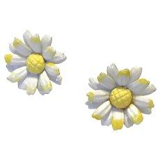 White Enameled On Metal Daisy Clip Earrings