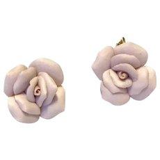 Pink Resin Clip Floral Earrings