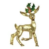 Gold Tone Reindeer Brooch