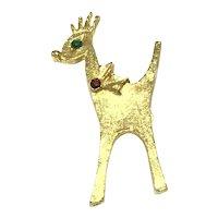 Gold Tone Reindeer Rhinestone Brooch