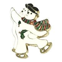 Enameled Silver Tone  Skating Snowmen Brooch