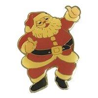 Gold Tone Enameled Santa Brooch