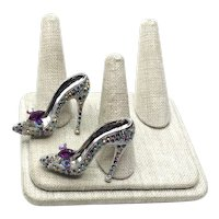 Pair Enameled Rhinestone High Heel Shoe Brooches NOS