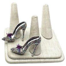 Pair Enameled Rhinestone High Heel Shoe Brooches NOS