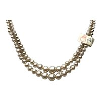 World War II Double Strand Graduated Champagne Simulated Pearls Necklace