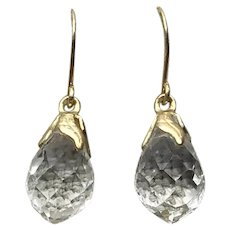 Gold Filled Clear Crystal Dangle Earrings