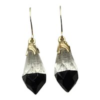 Gold Filled Clear & Black Faceted Crystal Dangle Earrings