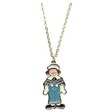Silver Tone Enameled NOS 1978 The Bobbs Merrill Co. Inc. Raggedy Andy Pendant Necklace