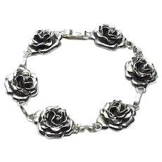 Dancraft Sterling Silver Rose Link Bracelet