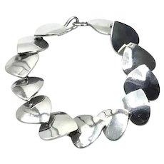 Mexican Sterling Silver Heart Link Bracelet
