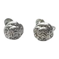 Sterling Marcasite Screw Back Earrings
