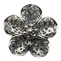 Beau Sterling Silver Filigree Floral Brooch