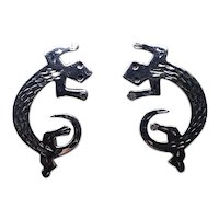 Sterling Silver Gecko Pierced Earrings
