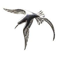Sterling Silver Bird In Flight Brooch Pendant