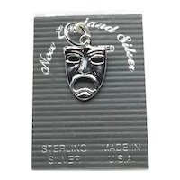 Sterling Silver Tragedy Face Charm NOS