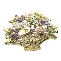 Gold Tone Pastel Enameled Floral Basket Brooch NOS