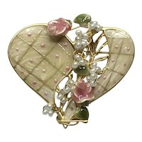 Gold Tone Enameled Faux Pearl Heart Brooch NOS