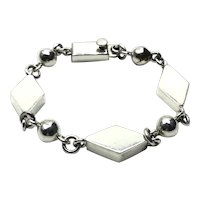 Mexican Sterling Silver Alicia de la Paz Modernist Link Bracelet