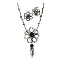Clear & Purple Rhinestone Pendant Necklace & Earrings Parures Set