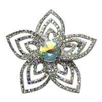 Silver Tone Clear Rhinestone Flower Brooch NOS