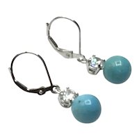 Sterling Silver Clear Rhinestone Faux Turquoise Dangle Earrings