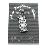 Sterling Silver Wise Owl Charm NOS