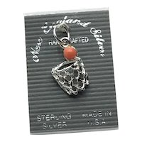 Sterling Silver Basketball Hoop & Ball Charm NOS