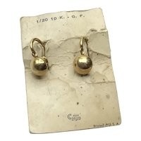 10K Gold Filled Screw Back Earrings On Original Card