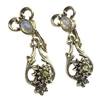 Coventry Gold Tone Faux Opal Peridot Clip Earrings