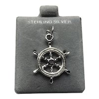 Sterling Silver Ships Wheel Charm NOS