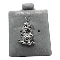 Sterling Silver Owl Charm NOS