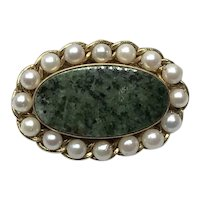 12K Gold Filled Nephrite Jade Cultured Pearl Brooch