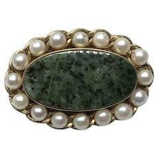12K Gold Filled Nephrite Jade Cultured Pearl Brooch