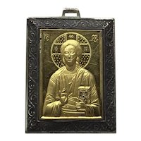 Greek Koustas Sterling Silver Bronze 14K Gold Mother Mary Religious Medal Pendant