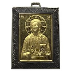 Greek Koustas Sterling Silver Bronze 14K Gold Mother Mary Religious Medal Pendant