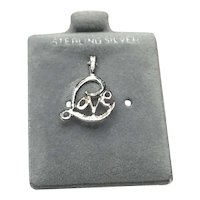 Sterling Silver LOVE Pendant Charm NOS