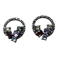 Sterling Marcasite Peridot Amethyst Topaz Ruby & Citrine Colored Rhinestone Pierced Earrings