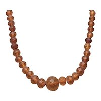 Faceted Baltic Amber Bead Necklace