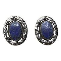 Sterling Silver Lapis Pierced Earrings