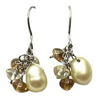 Sterling Silver Green Cultured Pearl & Gemstone Dangle Earrings