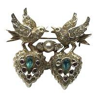 Silver Tone Lovebirds Hearts Rhinestone Brooch