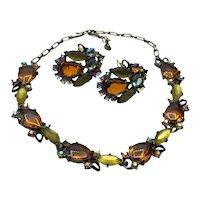 Topaz Green Aurora Borealis Rhinestone Necklace & Earrings
