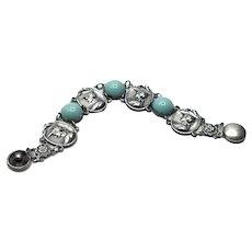 Silver Tone Joan Of Arc Faux Turquoise Link Bracelet