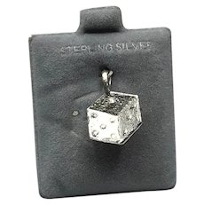 Sterling Silver Dice Charm NOS