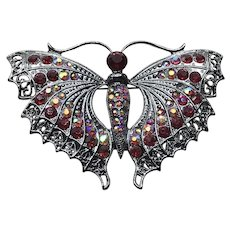 Red Rhinestone Butterfly Large Brooch