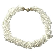 12 Strand Faux Pearl Choker Necklace