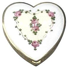 LaMode Guilloche Enameled Heart Compact