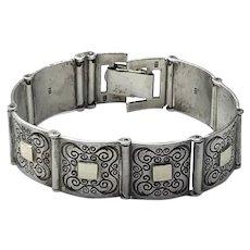 Sterling Silver & Gold Filled Aesthetic Movement Flexible Link Bracelet
