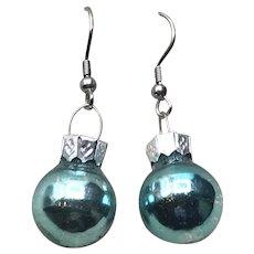 Silver Tone Christmas Blue Ball Earrings