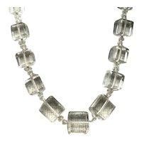 Clear Crystal Square Beaded Necklace